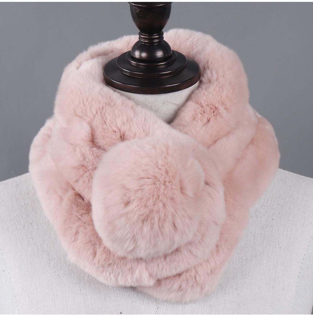 Écharpe lapin rex réel naturel fourrure