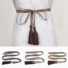 Women Fashion Rope Waist Belt Geometry Braided Tassels Waistband Ethnic Style Thin Waist Straps For Dress