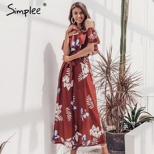 Image 4 - Simplee Bohemian floral print women jumpsuit Elegant off shoulder sashes ladies long jumpsuit Summer beach ruffled playsuit 2019