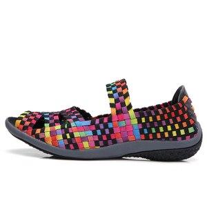 Image 4 - STQ 2020 Thu Đế Phẳng Giày Xăng Đan Nữ Dệt Giày Đế Bằng Nữ Đa Màu Sắc Trơn Trượt Trên Giày Sandal Nữ Thương Hiệu Cho Nữ 812