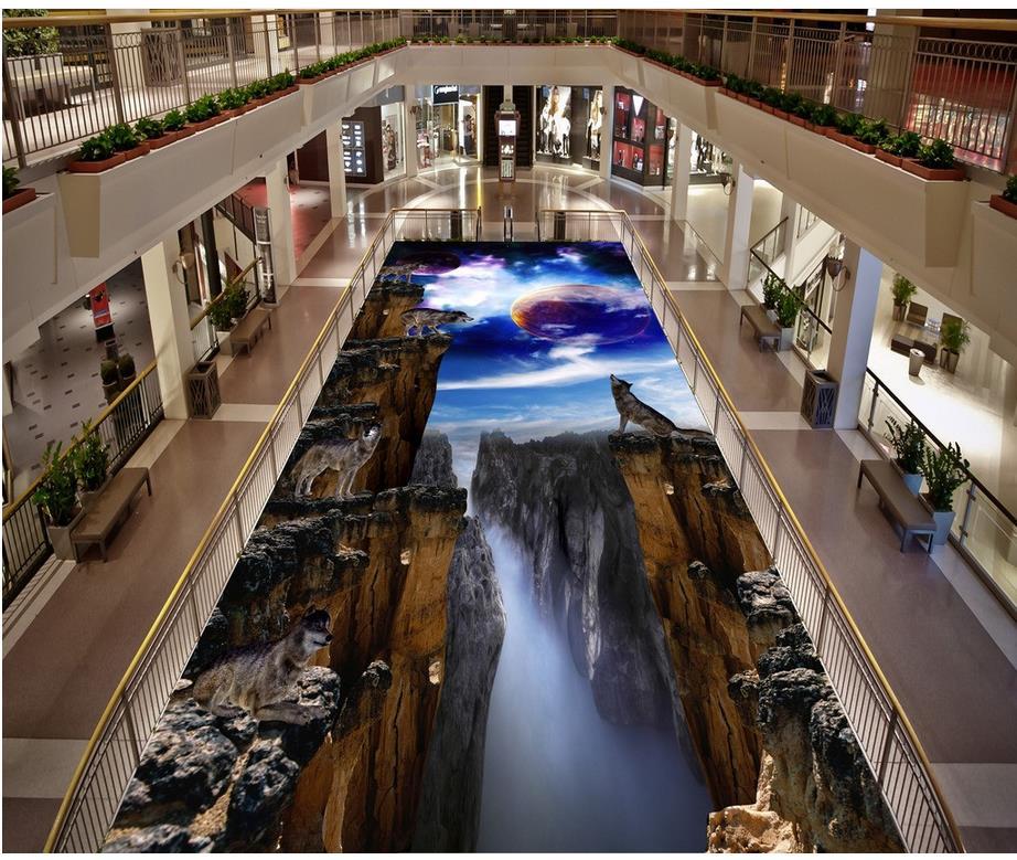 3D stereoscopic wallpaper floor world PVC waterproof floor  Custom Photo self-adhesive 3D floor 3d floor murals