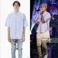 Streetwear roupas mens hiphop justin bieber designer camisas homens roupas com zíper vestido listrado manga curta temor de deus camisa