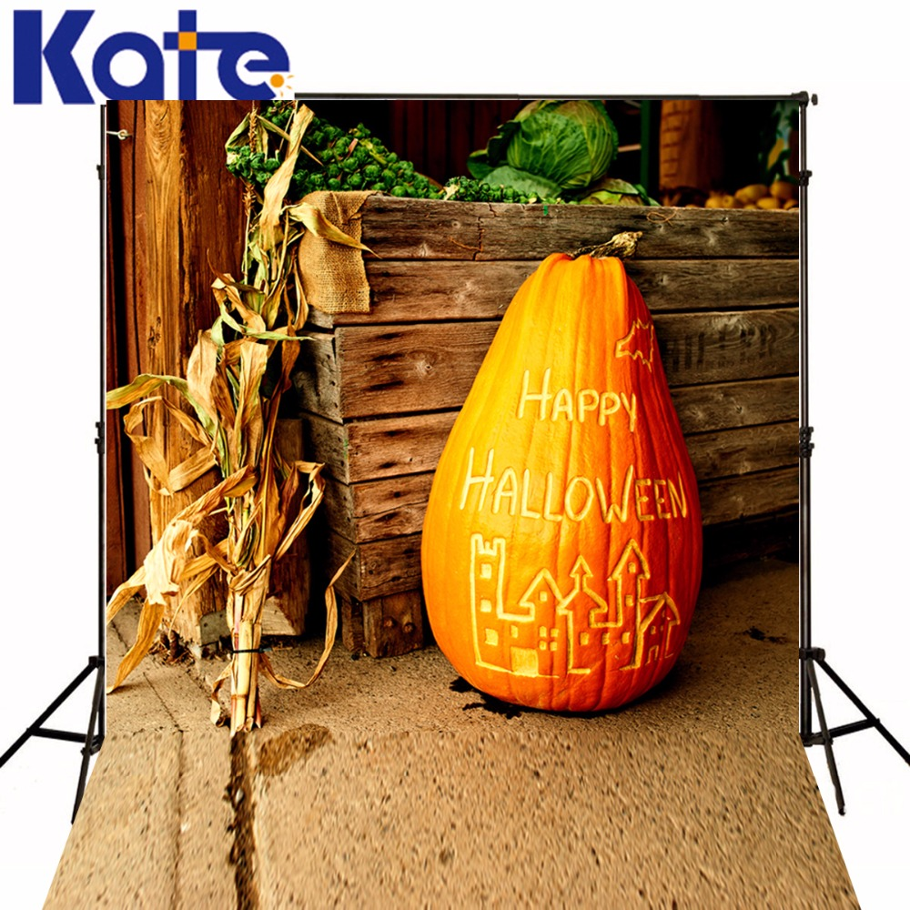 Kate Halloween Photography Backdrops Big Pumpkin Retro Wood Photographic Background For Children Photo Backdrop kate dry land photography backdrops land photography background retro children custom backdrop props for newborn photo shoot