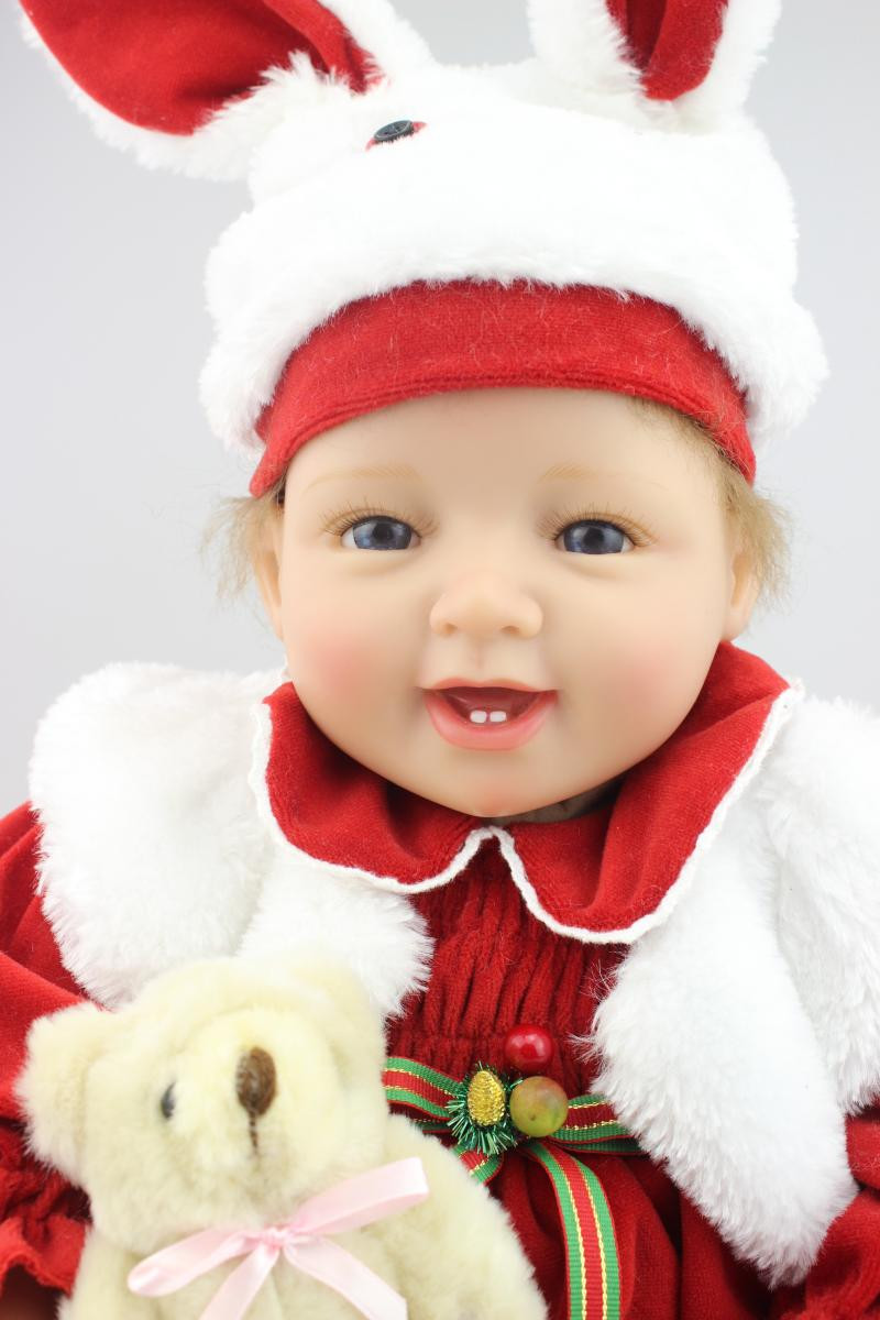 Lifelike Baby Reborn Doll with Clothes, 20 Adorable Newborn Doll Silicone Reborn Doll Christmas Gift Free Shipping new year merry christmas gift 18 american girl doll with clothes doll reborn silicone reborn baby doll our generation doll