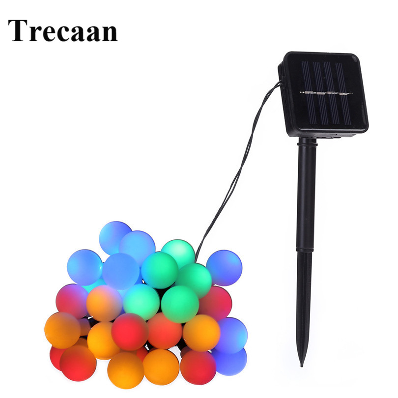 Trecaan 5M 30leds White ball led Solar string for Christmas ,holiday ,party decoration outdoor wire free color Christmas light