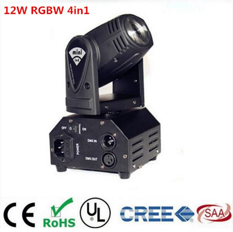 CREE mini beam 12W RGBW 4in1 moving head DMX512 light beam  LED spot Lighting Show Disco DJ Laser Light laser head owx8060 owy8075 onp8170