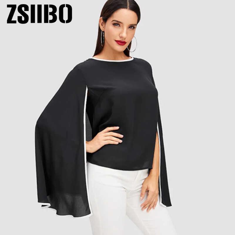 2019 летний женский плащ блузка Готический Летучая мышь с длинным рукавом шифоновые рубашки винтажные Соединенные сексуальные топы Плюс Размер Женская одежда