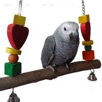 Parrot Bird Swing Wooden Stands With Bells Bird Toys Parts