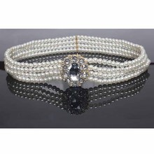 NEW White Stunning 4 Layers Circle Rhinestone Buckle Pearl Waist Belt For Women
