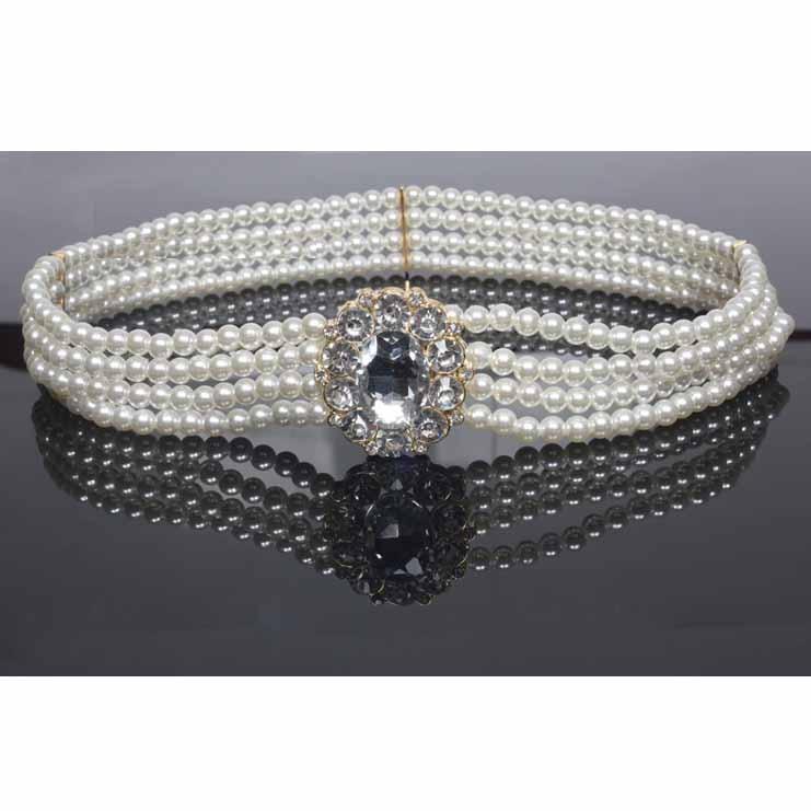 NEW White Stunning 4 Layers Circle Rhinestone Buckle Pearl Waist   Belt   For Women