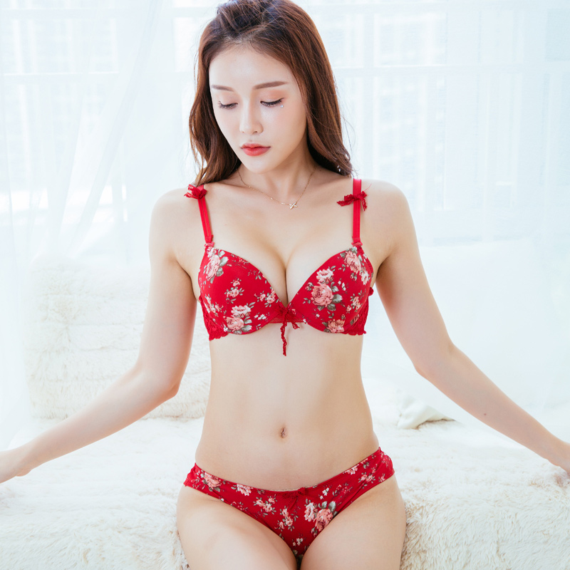 Mingmo 2018 Japanese Girls Floral Thick Bra Sweet Printing -5535