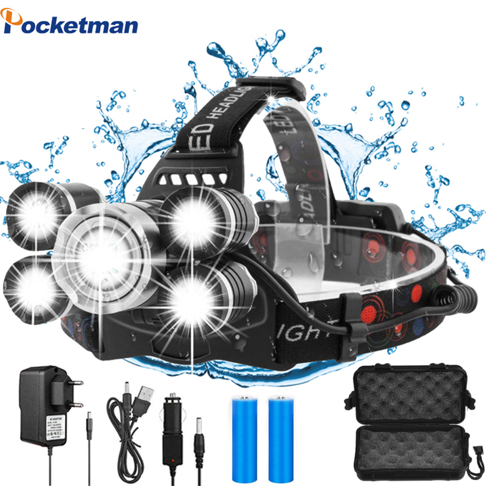 50000LM LED Headlamp Powerful T6 LED Headlight Waterproof Head Light Head Torch Head Lamp with Rechargeable 18650 Battery(China)