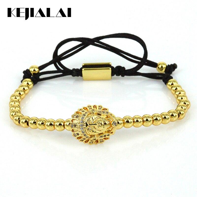 Classic Style Braiding Macrame Bracelet Indian Pharaoh Cobra Skull Bracelet Egyption Pharaoh Charm 4mm Beads for Men Women Gift