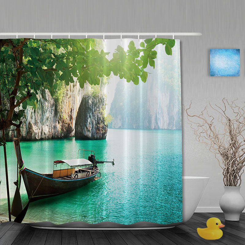 Lake Landscapes Bathroom Shower Curtains Mountain Boat Curtain Waterproof Polyester Fabric Custom Hooks