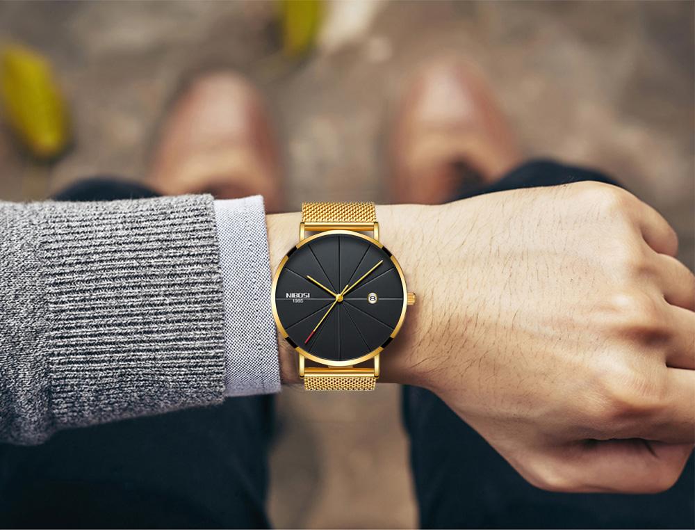 NIBOSI watch men black quartz wristwatches stainless steel mesh brand  watches men ultra thin quartz relogio masculino dourado (20)