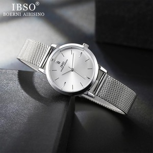 Image 5 - Часы наручные IBSO женские кварцевые, модные ультратонкие с сетчатым браслетом из нержавеющей стали, простые