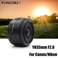 YN35mm F2 YONGNUO Camera Lens for Nikon Canon EOS YN35MM Lenses AF MF Wide Angle Lens for 600D 60D 5DII 5D 500D 400D 650D 6D
