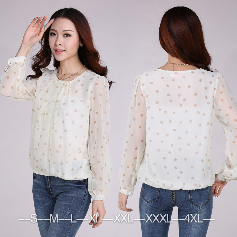 2014 New Brand Saree Blouses Patterns Polka Dot Ladies Chiffon White