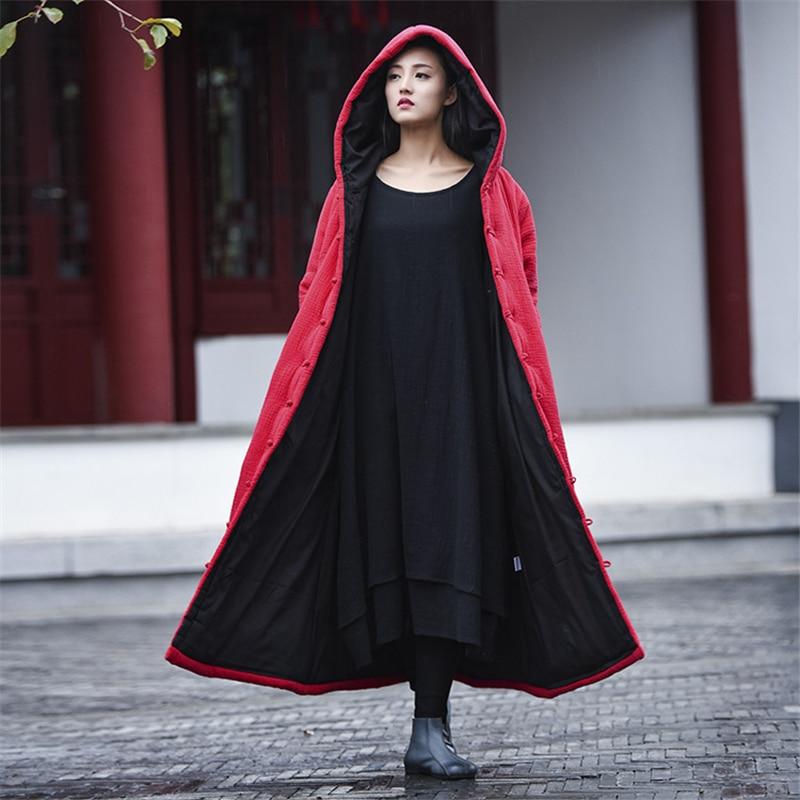 Johnature Women Cotton Linen Coats Hooded 2019 New Winter Parkas Button Vintage Thick Warm Clothes Plus