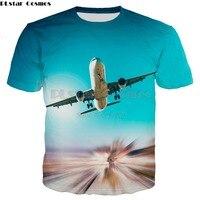 PLstar 코스모스 브랜드 의류 2018 여름 새로운 패션 3d 티셔츠 푸른 하늘과 비행기 프린트 티셔츠, 남성 여성 캐주얼 티셔츠