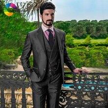 Double Breasted Dark Grey Men Wedding Suits Custom Made Groomsmen Suit Italian Groom Tuxedos Man Blazers 3Piece Jacket Pant Vest