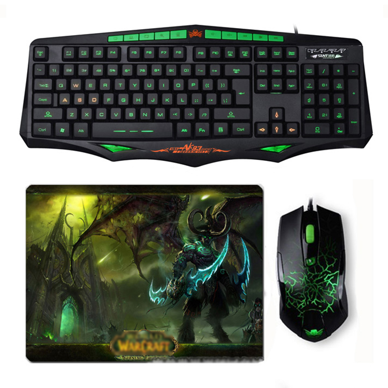 Sintop AK93 Wired Green LED Backlit USB Ergonomic Gaming Keyboard Mouse Combo + Wired Optical Gamer Mouse Sets + Cool Mouse Pad binmer keyboards m938 led backlit usb ergonomic gaming keyboard gamer mouse sets mouse pad td0110 dropship