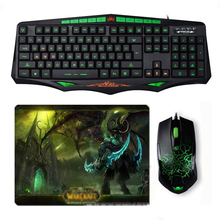 Sintop AK93 Wired Green LED Backlit USB Ergonomic Gaming Keyboard Mouse Combo + Wired Optical Gamer Mouse Sets + Cool Mouse Pad