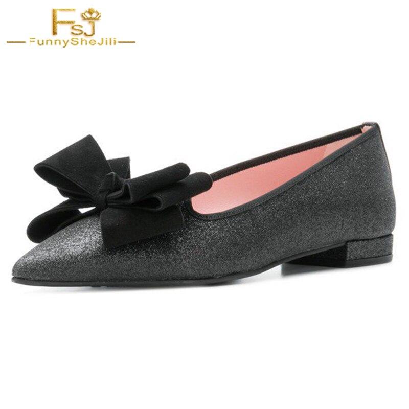 Laidies Mocassins Pointu noeud Chaussures Glitter Femmes La Papillon Confortable Noir Sur Arc Bout Automne Appartements Glissement Plat Mode Fsj Fsj01 xIBXB4n0q