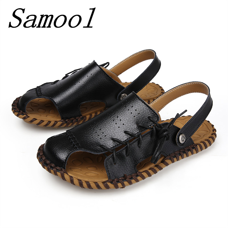 New Fashion Summer Leisure Beach Men Shoes High Quality Leather Sandals Breathable Mens Sandals Size 38-45 Homme Sandalias mx3