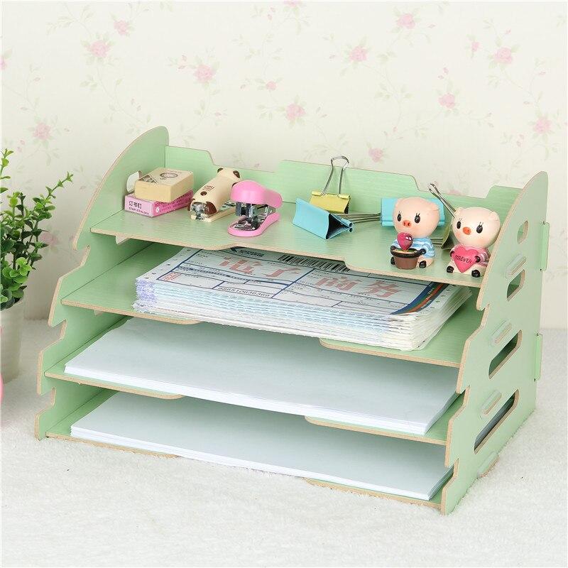 Desktop storage rack multi function file shelf A4 data shelf notes box creative book holder home
