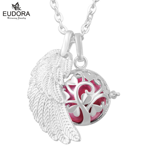 Harmony Chime Ball Silver Angel Wing Angel Caller Sounds Bell Mexican Pregnant Woman Chain Necklace Pendent Baby Gift