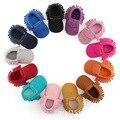 Hot venda Nova pu Camurça Mocassins de couro Borla Arco Da Criança do bebê Do Bebê Recém-nascido Bebe Suave Não-deslizamento de couro Prewalker Sapatos de bebê