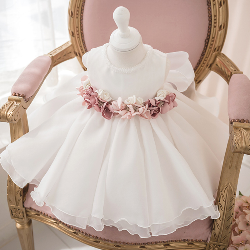 Baby girls birthday party dress for girl kids Flower Girl Wedding Party banquet first party flower