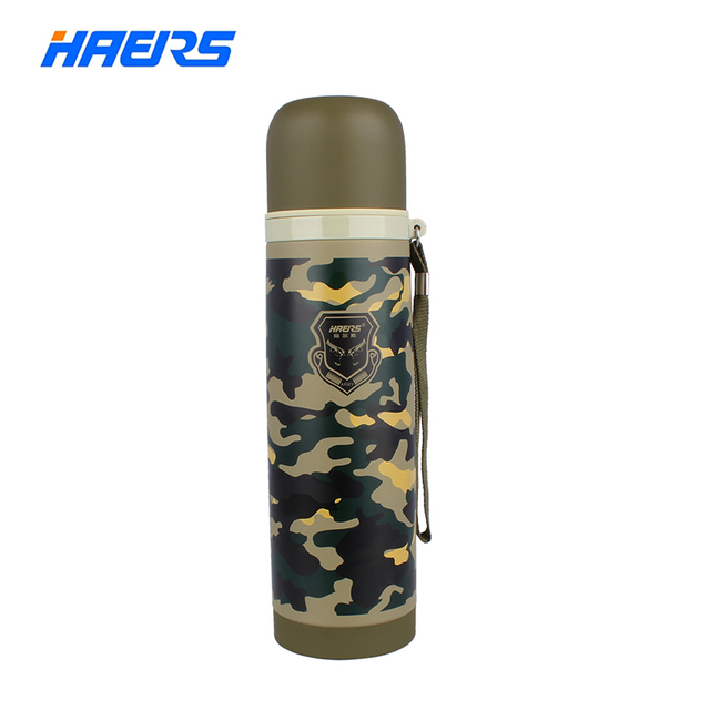 Haers Thermos 500ml Stainless Steel Insulated Thermos Outdoor Water Bottle Amy Green Cool Design Bullet Shape HB-500FAX-1