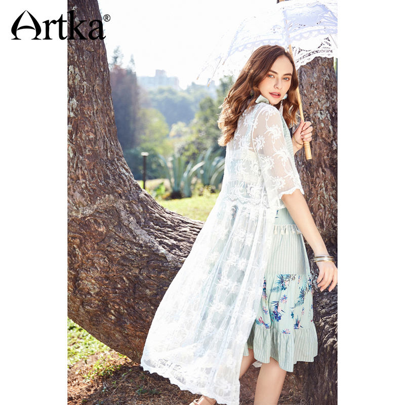 ad30585982 Detail Feedback Questions about ARTKA 2018 Summer New Bohemian Female Lace  Embroidery Half Sleeve High Waist Drawstring Sun Protection Long Shirt  WA10488C ...