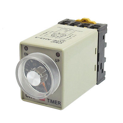 DC24V/DC12V/AC110V/AC220V 8 Pin 0-60 Minute Rail Mount AH3-3 Delay Timer Time Relay w Socket 3s ah3 3 power on delay timer time relay 36vac plastic housing 8 pin