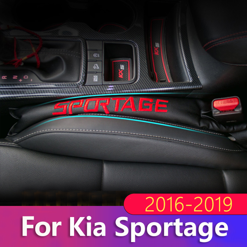 2pcs PU Leather Car Seat Gap Filler Soft Pad Padding Spacer For Kia Sportage 2011 2012 2013 2014 2015 2016 2017 2018 Accessories