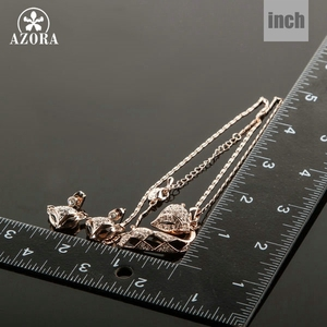 Image 3 - AZORA My Fox Lady Rose Gold Color Austrian Rhinestone Paved Fox Pendant Necklace and Earring Set TG0074