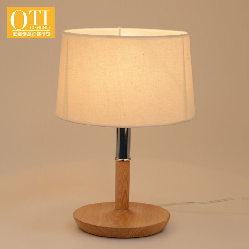 oti lighting cloth shade table lamp wood base e27 holder american country style 1pcs for. Black Bedroom Furniture Sets. Home Design Ideas