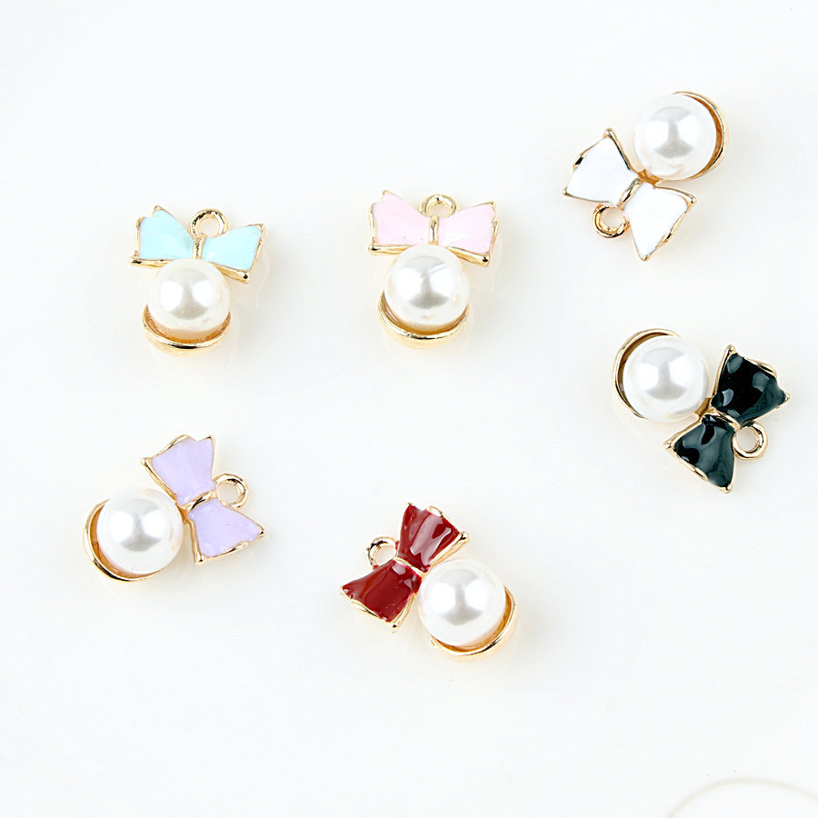 MRHUANG 10pcs imitation pearl bow floating Enamel Charms Alloy Pendant fit for bracelet DIY  Fashion Jewelry Accessories
