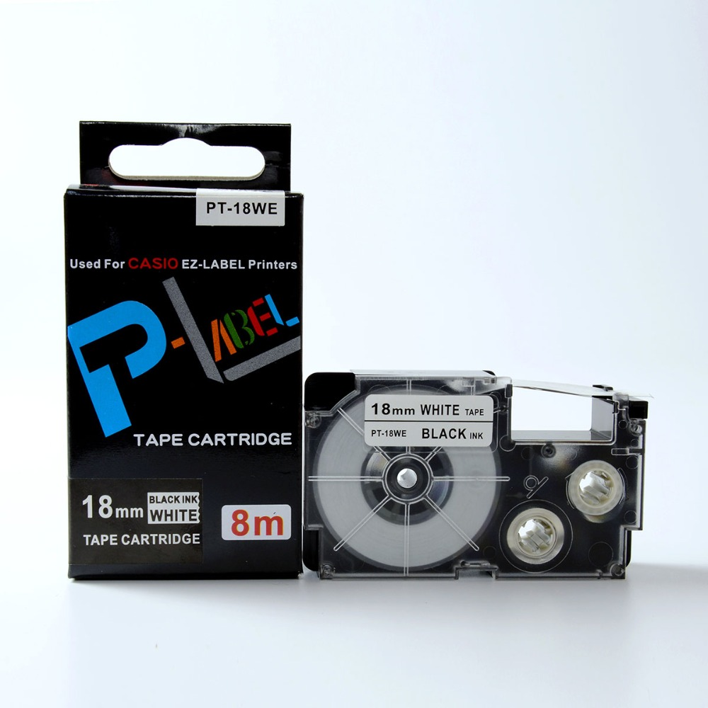 Compatible PT 18WE XR 18WE black on white label tapes for KL label printer-in Printer Ribbons from Computer & Office    1