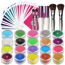 OPHIR 20 Colors Shimmer Glitter Tattoo Set w/ 30 Stencils 2 Glue & Brushes for Glitter Temporary Tattoo Body Paint Design_TA115