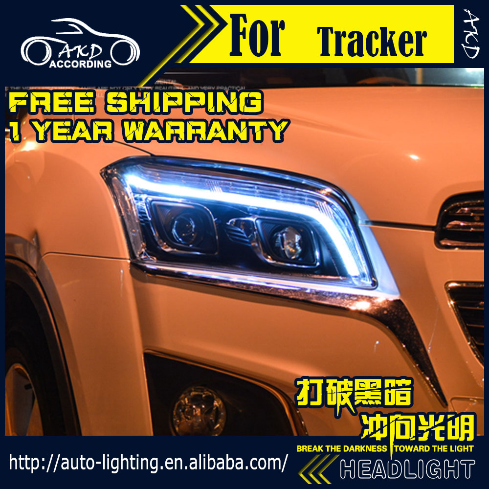 AKD Estilo Do Carro Lâmpada de Cabeça para Chevrolet Trax LEVOU Farol 2013-2015 rastreador LED DRL H7 Opção D2H Hid Anjo Olho Xenon Bi feixe