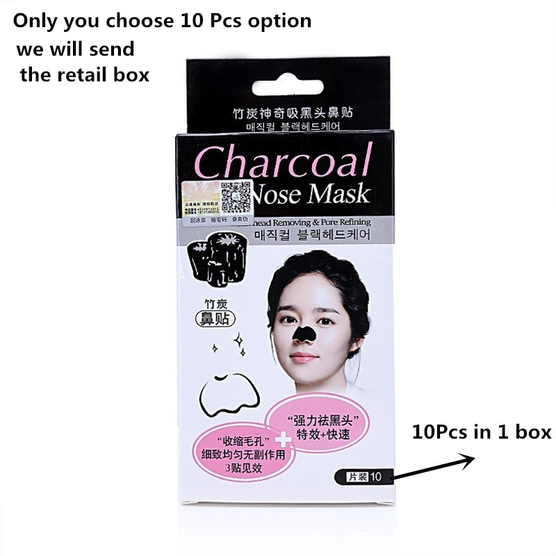 Black mask Newest Tearing style Deep Cleansing New oil skin Acne Blackhead remover strawberry nose black head 10Pcs/Box