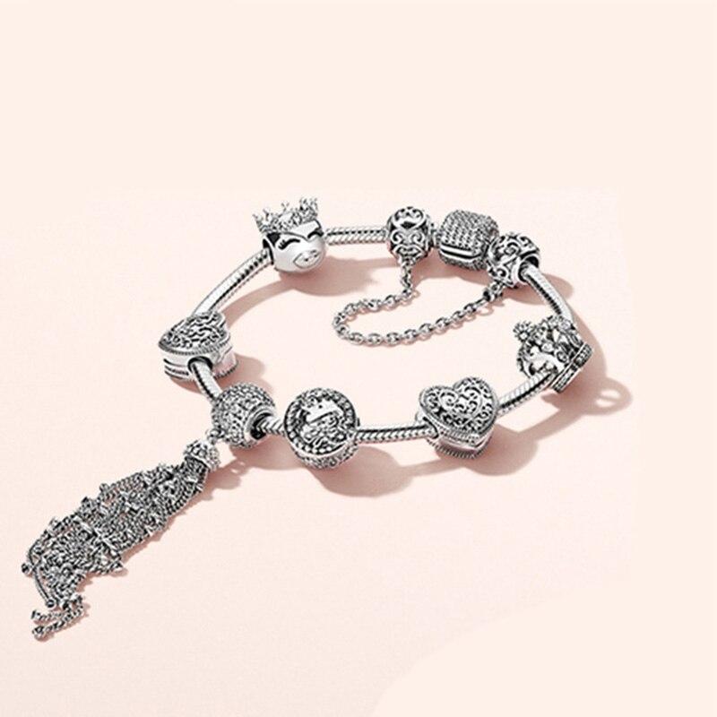 100% 925 argent Sterling nouveau 1:1 véritable princesse naturel magique Bracelet ensemble élégant charme coeur Bracelet bijoux