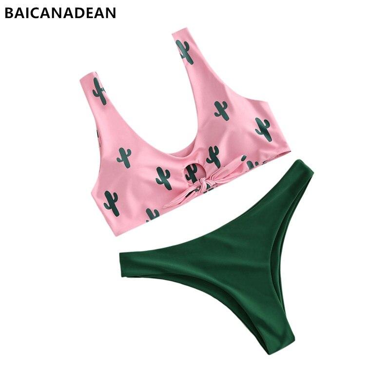 4849c5a201 Detail Feedback Questions about Cactus Knot Bikini Set Swimwear Women  Swimsuit Plunging Neck Low Waist Contrast Thong Bikini Biquni Cactus  Bathing Suit on ...