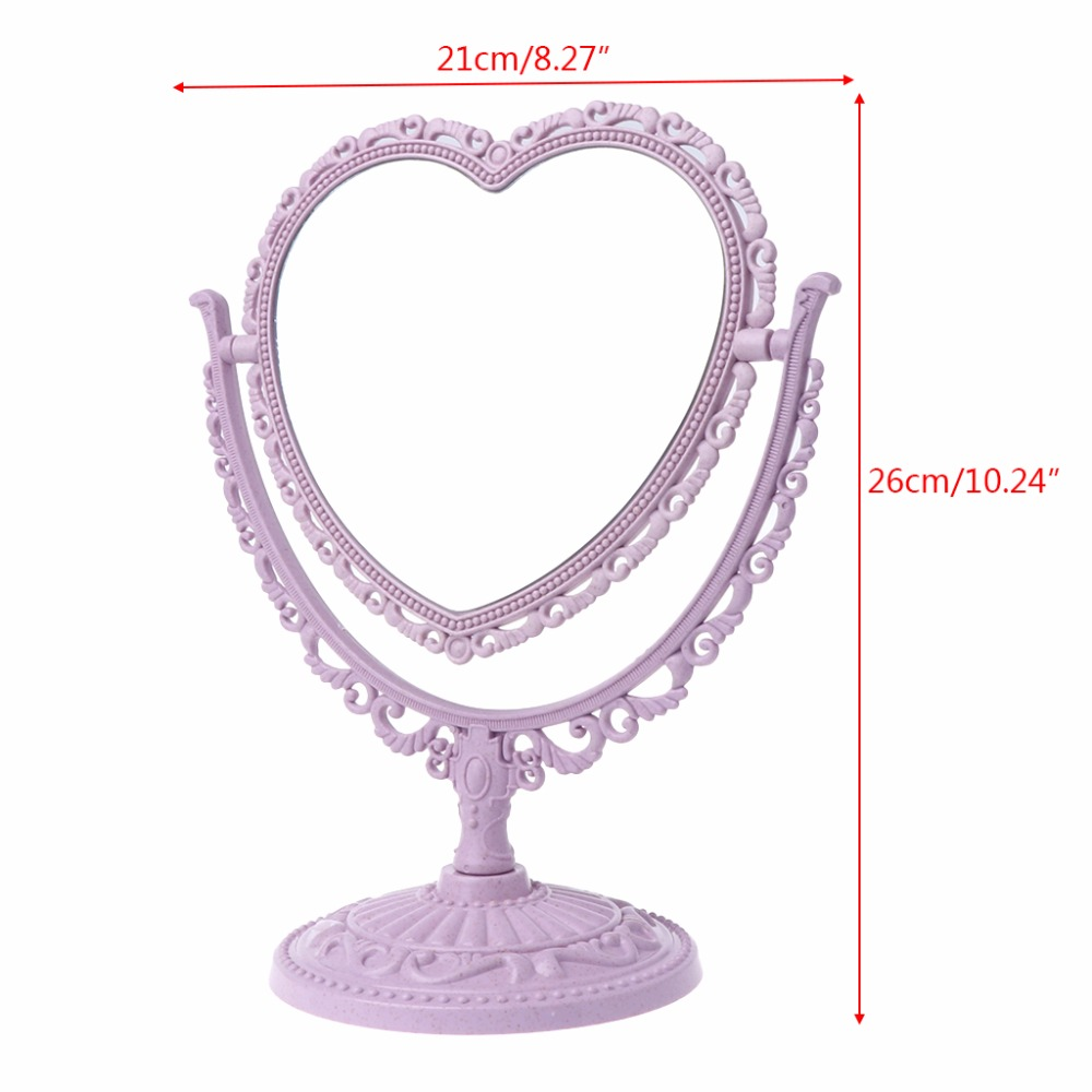 Купить с кэшбэком 2 Sides Heart-shaped Makeup Mirror Rotatable Stand Table Compact Mirror Dresser 21x26cm 4 Color