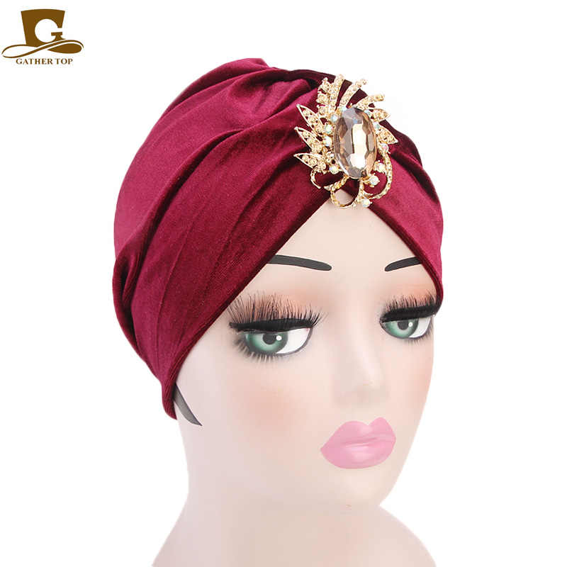 ... Luxury stone brooch velvet turban women fashion dress cap muslim Cap  hair chemo cap Hijab Head ... 21cd5485c68e