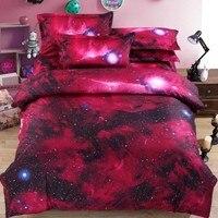 Red Stars Quilt Cover Pillowcase Bedding Set Outer Space Interstellar Design 2/3Pcs Fantsey Bedding Purple Luxury Satin Bedding