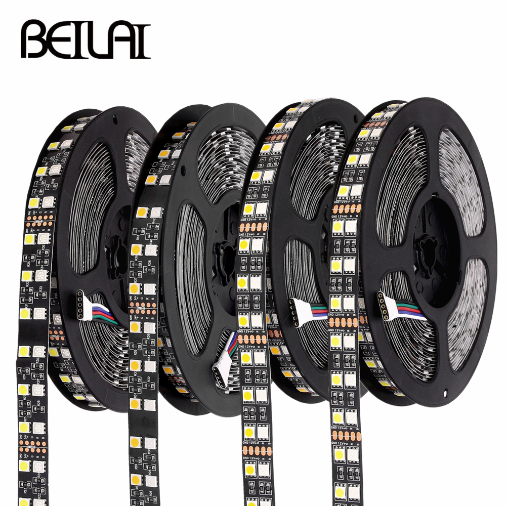 RGB LED Strip Waterproof 5050 120LEDs/m Double Row Black PCB DC 12V 24V RGBW RGBWW LED Light Strip Flexible Neon Tape Luz